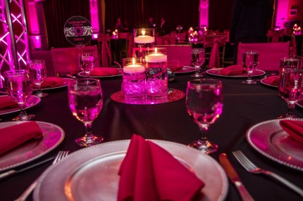 The centerpieces were 3 cylinder vases of different heights with pink LED